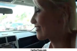 Amateur couple fucking in the car.