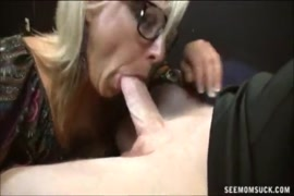Hot blonde milf sucking dick, riding cock and takes load in mouth.
