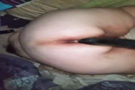 Bbw fucks ass with huge black dildo.
