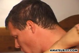 Busty busty amateur milf sucks and fuck with a huge cumshot in mouth.
